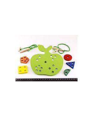 Дерев'яне яблуко-шнурівка 959/тваринки у відерку (шнурівка)