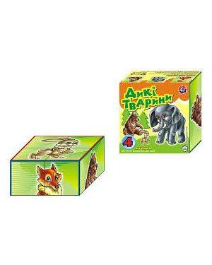 Кубики дитячі 4шт.  Інтелком Дикі тварини ТехноК 1820