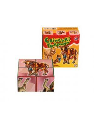 Кубики дитячі 4шт.  Інтелком Свійські тварини ТехноК 1837